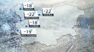 Мразовита неделя - -22 градуса в 8 часа...