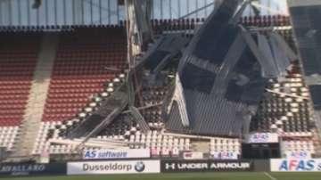Ураганен вятър отнесе покрива на стадион в Холандия