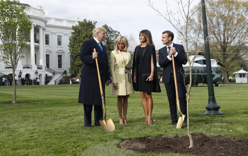 умря дъбът засаден тръмп макрон белия дом