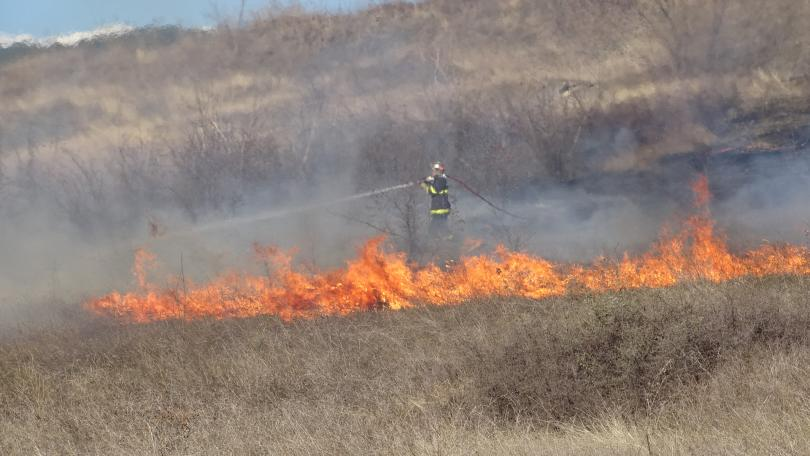 Над час огнеборците от Благоевград гасиха голям пожар, възникнал край