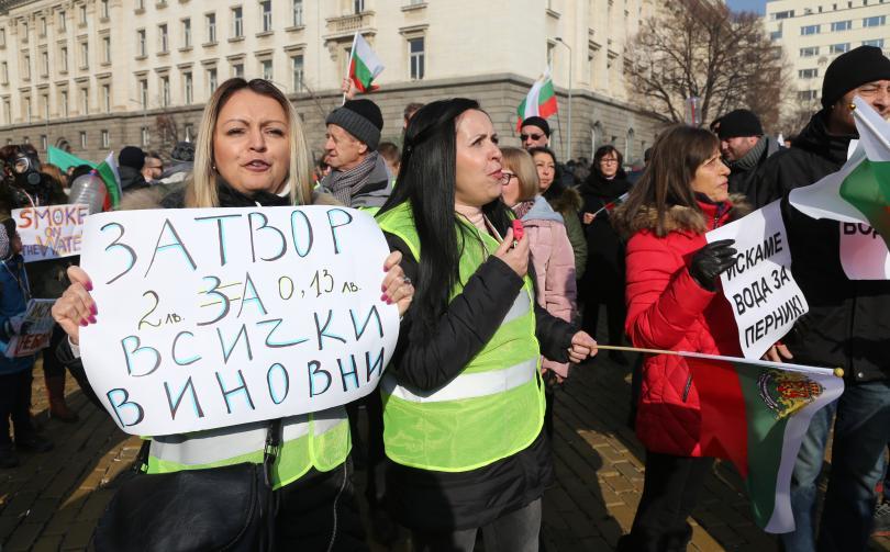 снимка 4 Перничани протестираха с празни бутилки за вода в столицата