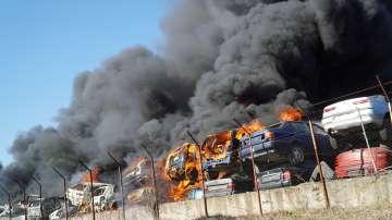 80 автомобила изгоряха в автоморга в Хасково (Снимки)
