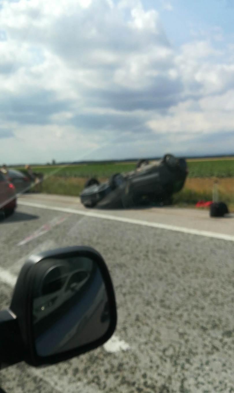 снимка 1 Километрично задръстване на АМ Тракия заради катастрофа