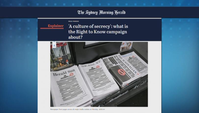Най-големите вестници в Австралия публикуваха редактирани първи страници в знак
