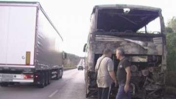 Автобус се запали в движение на пътя Мездра - Враца