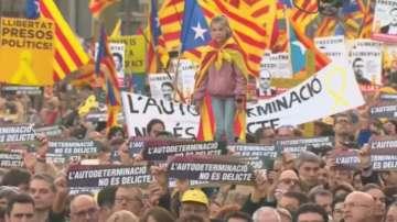 Мащабен протест в защита на бившите каталунски лидери