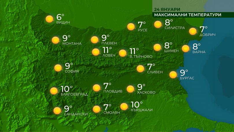 След температури сутринта в повечето райони от минус 6° до