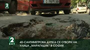 40-сантиметрова дупка се отвори на улица Марагидик в София