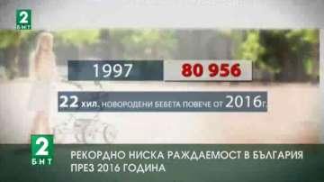 Рекордно ниска раждаемост в България през 2016 година