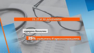 1/4 от болничните между Коледа и Нова година са на хора в бюджетния сектор
