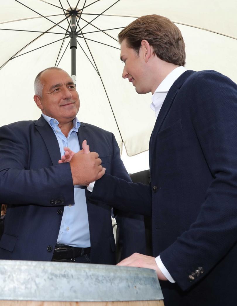 Премиерът Борисов с австрийския канцлер Себастиан Курц