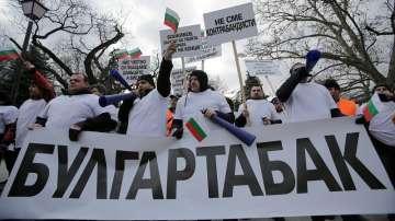 """Работници от """"Булгартабак"""" излязоха на протест заради твърдения на Христо Иванов"""