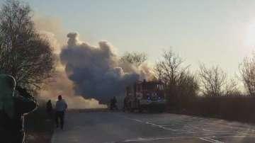 Бус се запали на пътя между Пловдив и Пазарджик