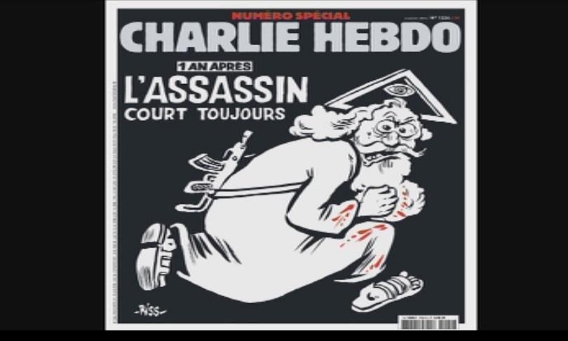 """Корицата на """"Шарли Ебдо"""" година след атаката"""