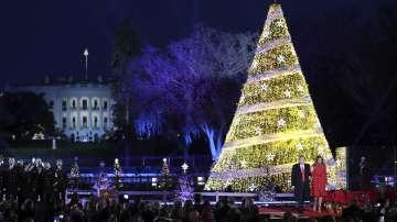 Тръмп запали светлините на коледното дърво пред Белия дом (СНИМКИ)