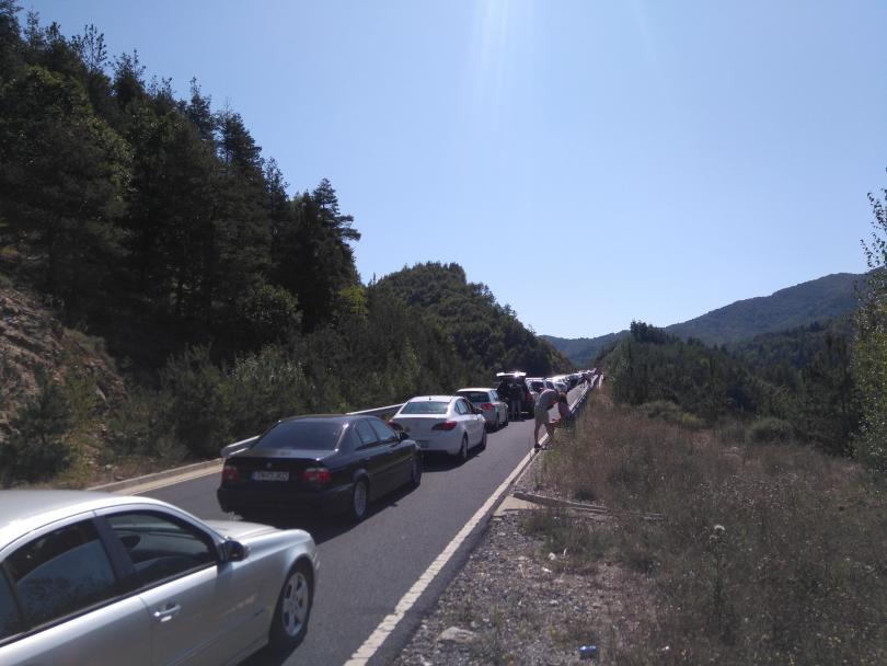 снимка 1 5 км опашка на ГКПП Маказа от България към Гърция