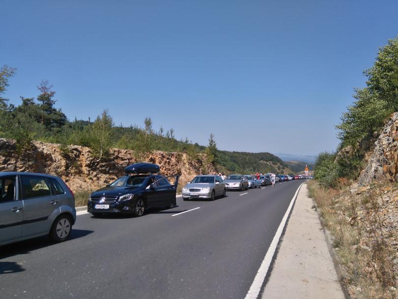 снимка 2 5 км опашка на ГКПП Маказа от България към Гърция