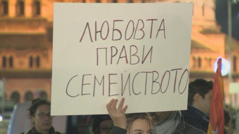 снимка 1 Протест пред парламента срещу непризнаването на еднополовите бракове