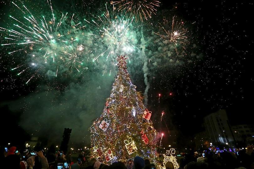 Снимка: Запалиха светлините на елхата в София