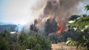 Продължават пожарите на остров Евбея