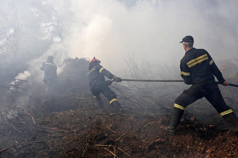 снимка 1 Близо 400 пожарникари участват в гасенето на пожара на остров Евбея