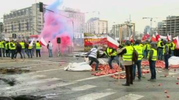 Полски фермери протестираха с разсипани ябълки и горяща слама
