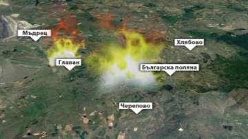 Пожарът край село Главан е под контрол, но не е локализиран