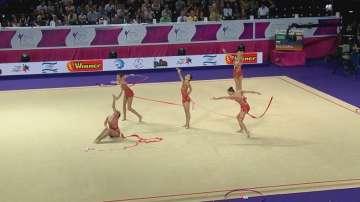 Българският ансамбъл зае 4-то място във финалите на съчетанието с пет ленти