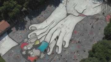 Гигантски графит е нарисуван в пловдивско училище