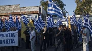 Масови протести на откриването на Международния панаир в Солун