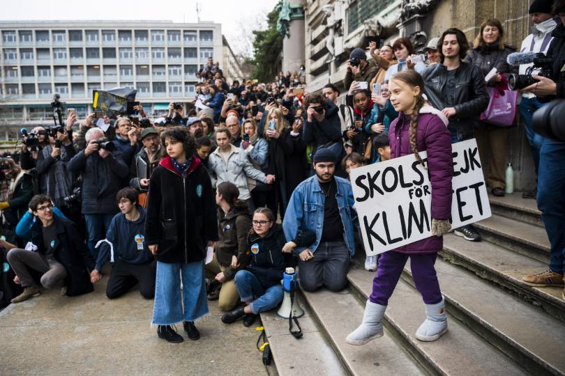 Екоактивистката Грета Тунберг участва в швейцарския град Лозана в нова