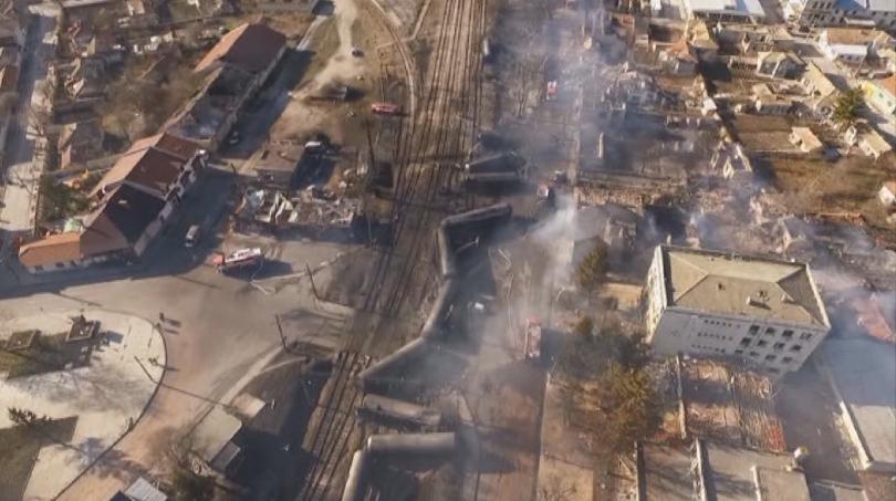 Сградата бе срутена от взрива, след дерайлирането на влакова композиция,