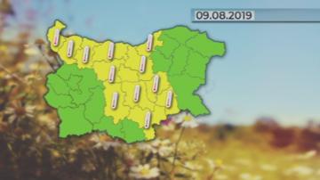 Жълт код за горещо време в 13 области на страната в петък