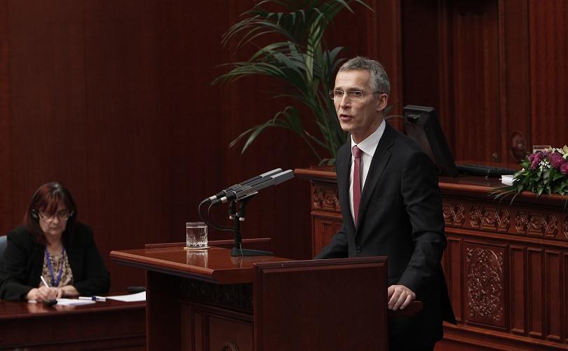 Генералният секретар на НАТО говори пред Македонския парламент