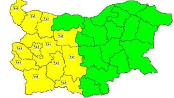 Жълт код за обилни валежи в 12 области на Западна България