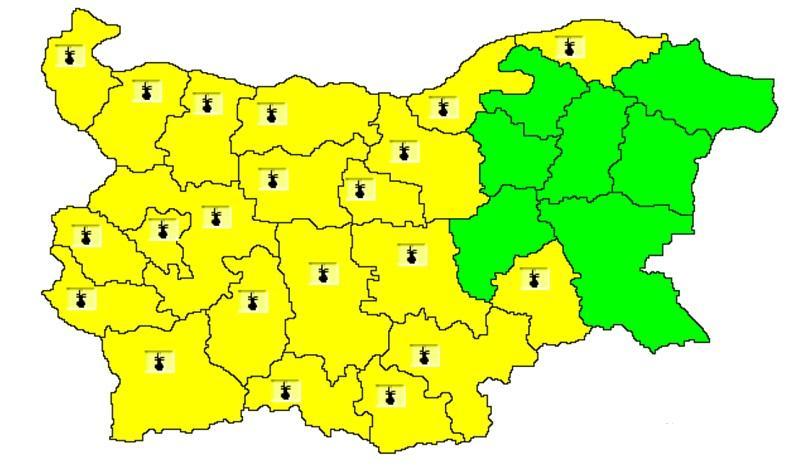 жълт код жеги голямата част страната