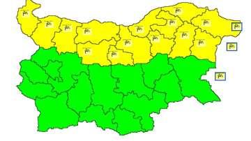 Жълт код за силен вятър в 14 области в Северна България