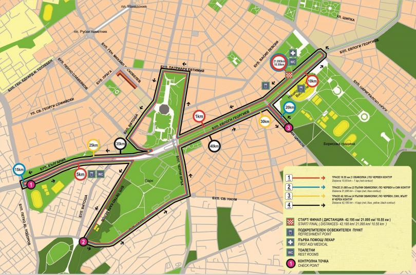 Карта на трасето и участъците, които ще бъдат затворени