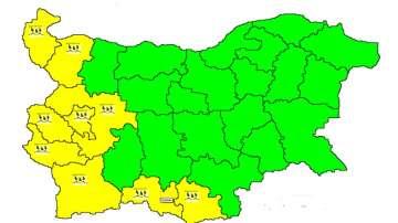 9 области с жълт код заради проливни валежи