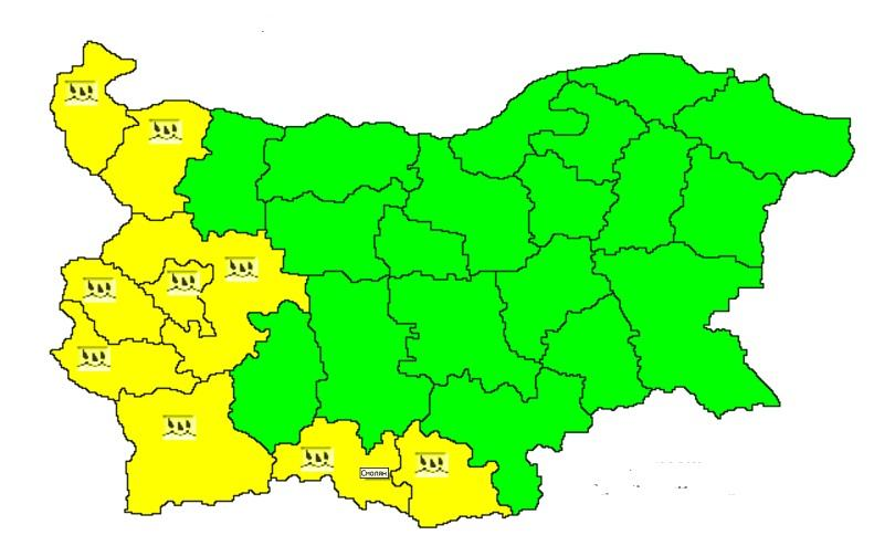 области жълт код заради проливни валежи
