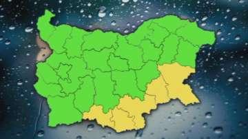 Жълт код за валежи и гръмотевици в 5 области у нас