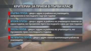 Приеха критериите за прием на първокласници в София