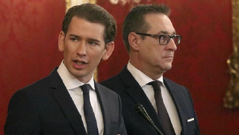 Лидерът на Австрийската народна партия Себастиан Курц и председателят на Австрийската партия на свободата Ханс-Кристиян Страахе