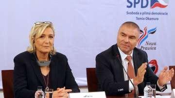 Марин Льо Пен разговаря с Веселин Марешки