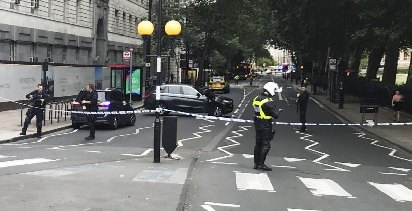 снимка 2 Кола се вряза в огражденията на британския парламент в Лондон