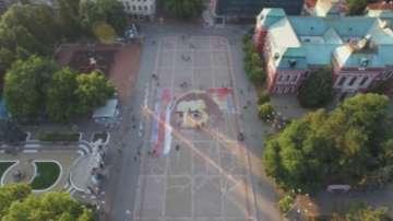 В Кюстендил нарисуваха огромен портрет на Майстора