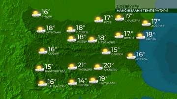 Високи температури и в неделния ден
