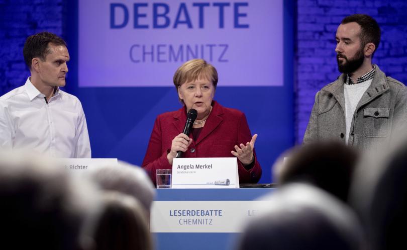 Канцлерът на Германия Ангела Меркел посети Кемниц - източно-германския град,