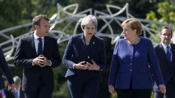 Меркел, Мей и Макрон пристигнаха заедно за срещата на върха ЕС-Западни Балкани