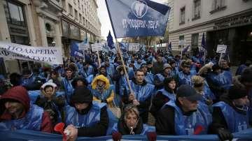 Синдикалисти, миньори и енергетици протестираха в София